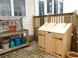 lawn garden perfect outdoor trash can storage cabinet plans