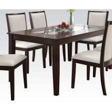 Espresso Kitchen Table by Eastfall Glass Insert Espresso Dining Table Set