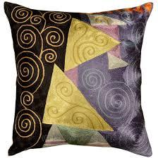 Decorative Pillows Modern Klimt Black Blue Jewel Tree Throw Pillow Cover Hand Embroidered 18