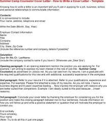 Residential Counselor Resume Day Camp Director Cover Letter