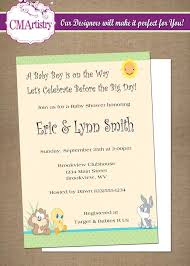 looney tunes baby shower personalized printable invitations cmartistry baby looney