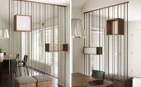 wall partition design detail metal rods and wood boxes were used to create a