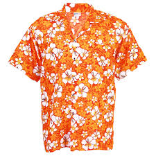 hawaiian shirt aloha chaba hibiscus leisure orange l hc252o