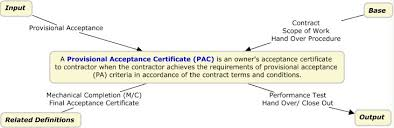 provisional acceptance certificate pac the project definition
