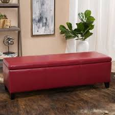 Leather Storage Ottoman Bench Red Ottomans U0026 Poufs You U0027ll Love Wayfair