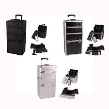 Professional Makeup Artist Organizer Pro 2 In 1 Aluminum Professional Makeup Artist Rolling Train Case
