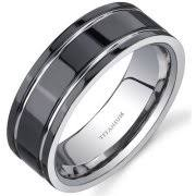 titanium mens wedding bands oravo men s titanium black and silver beveled edge ring 8mm