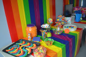 Rainbow Party Decorations Use Plastic Table Clothes Rainbow Decor U0026 Food Plastic