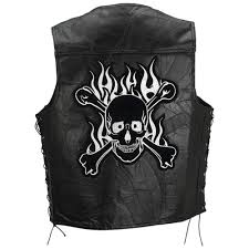 leather biker vest black leather biker vest with flaming skull and crossbones patch