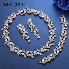 bridal necklace sets silver images Bridal jewelry sets silver gold color necklace wedding jewelry jpg