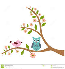bird and owl with tree pattern stock vector illustration of