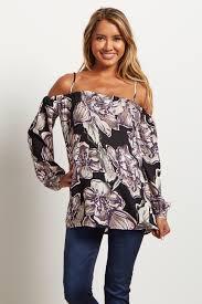 open shoulder blouse black floral open shoulder maternity blouse