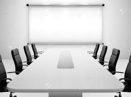 Black Meeting Table 3d Render Of Meeting Room With Projection Screen And Conference