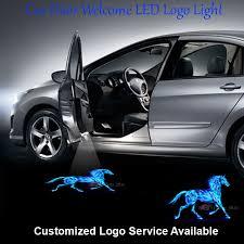 2x car door welcome laser projector 3d blue flaming logo