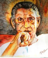 painting of satyajit ray by tapas desipainters com