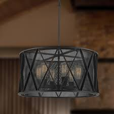 Drum Shade Pendant Light Taiko Collection 6 Light Mesh Drum Shade Pendant Light In Matte