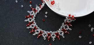 red collar necklace images How to make red and clear glass beaded collar necklaces jpg