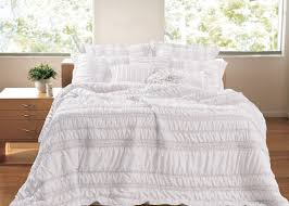 tiana ruched white 5 piece bedding set