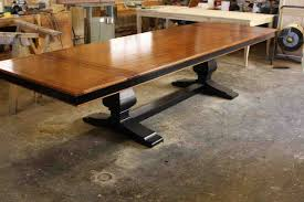 custom wood dining tables hand crafted custom mahogany wood trestle dining table with 2 leaves