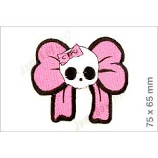 skull ribbon mrs0720 pink ribbon skull logo car racing badge logo embroidered