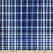 poly cotton plaid navy blue black white discount