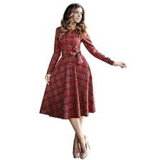 women autumn dress british style plaid dress long sleeve long