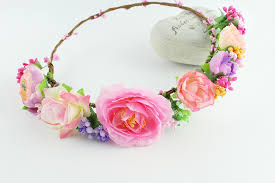 flower crowns color headband real floral hair wreath rustic bridal