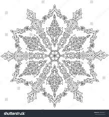 contoured mandala shaped snowflakes coloring stock vector
