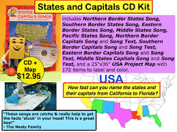 Map Of Usa With States And Capitals by Audio Memory Kathy Troxel 800 365 Sing Educational Music Books