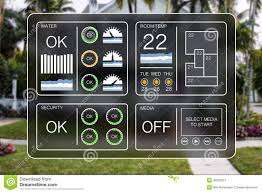 home automation icons to control a smart home like light water