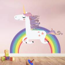 einhorn wandaufkleber regenbogen wandtattoo kunst mädchen