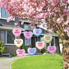 outdoor decorations valentines lawn decorations hanging candy hearts diy