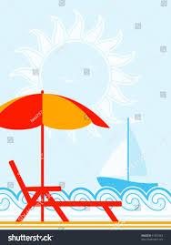 Clip On Umbrellas For Beach Chairs Vector Background Deck Chair Under Umbrella Stock Vector 91829363