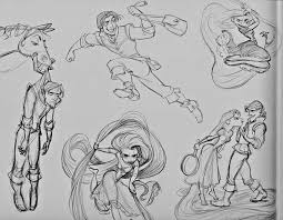 disney characters lineart pencil drawing collection