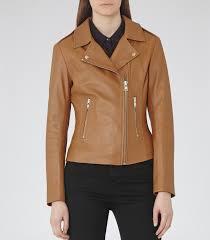 biker jacket women reiss virna leather biker jacket in brown lyst