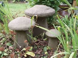 garden set of 3 large staddle toadstool