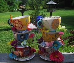 pair of two handpainted stacked teacup centerpieces alice in