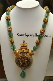 gold bead pendant necklace images Emeralds and antique gold beads mala with antique pendant jpg