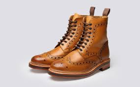 fred men u0027s brogue boot in tan calf leather with a leather sole