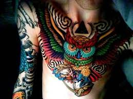 awesome chest cover up with traditional owl photos