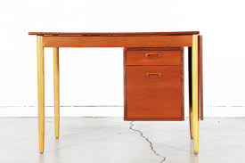 Danish Modern Teak Desk by Danish Modern Drop Leaf Desk With Sliding Drawers Vintage Supply