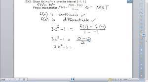 ap calculus bc 3 2 mean value theorem u0026 rolle u0027s theorem youtube