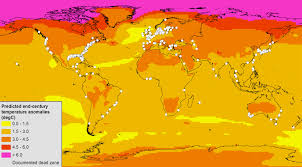 World Temperature Map by Climate Change Expected To Expand Majority Of Ocean Dead Zones