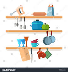 Interior Of Kitchen Kitchen Shelves Cooking Tools Hanging Pots Stock Vector 554169295