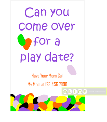Kids Invitation Card Play Date Card Play Date Invitation Cards Playdate