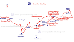 China On The Map by China Great Wall Map Great Wall Hiking