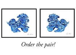 blue foo dogs foo dogs blue china 2 prints fu lion print asian decor