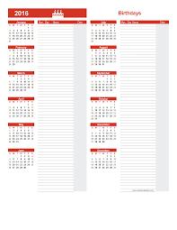 Free Birthday Calendar Template Excel Birthday Calendar Template 2016 Calendar Template Printable