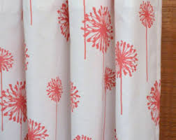 Coral And Gray Curtains Dandelion Curtains Etsy