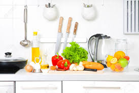 modern vegetarian kitchen modern kitchen at home with healthy food stock photo picture and
